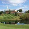 A view over the water of the clubhouse at Chapel Hill Golf Course