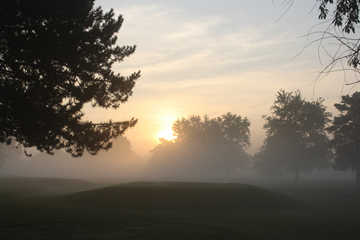 A foggy view from Minerva Lake Golf Course